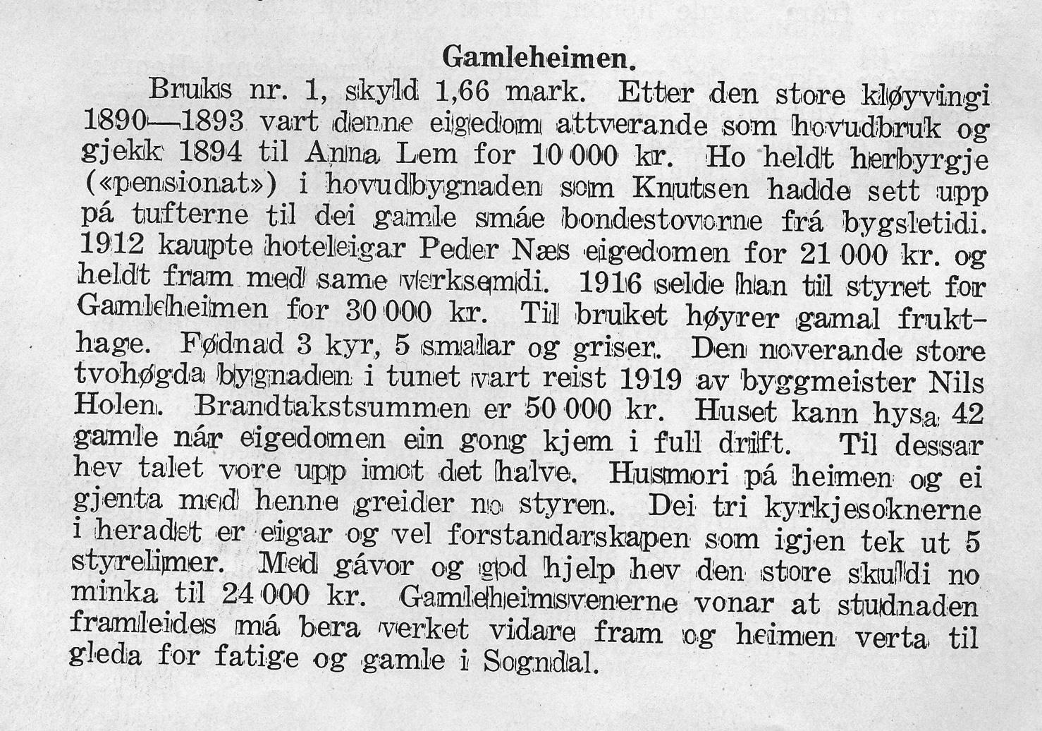 Faksimile frå sogeheftet av Vilhelm Flugheim