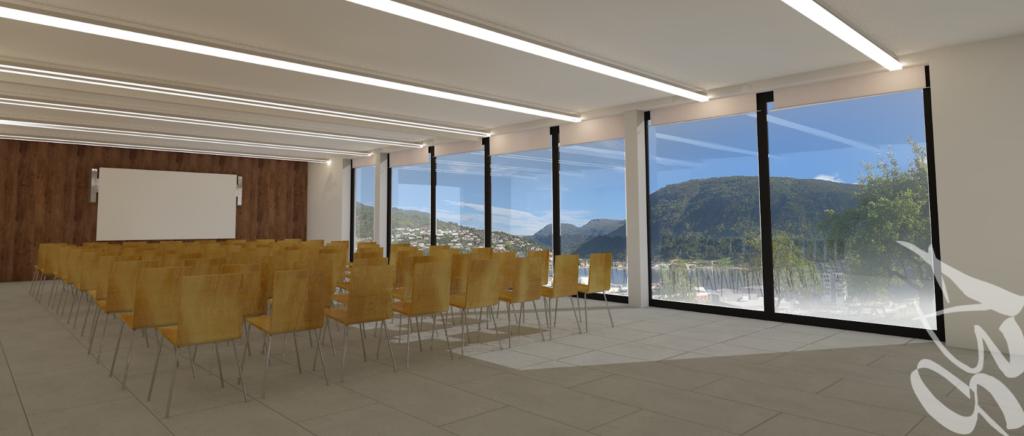 Illustrasjon av forsamlingslokale med utsikt over fjorden
